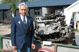 Albert Shorrock with the Merlin engine of Gp Capt McDonald's Spitfire