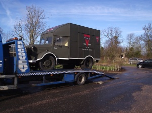 1941 Austin K2 YMCA tea car arrives at Croome, the site of former RAF Defford