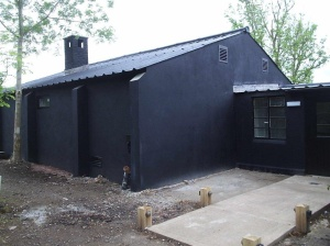 RAF Defford Museum building, the exterior restored to its 1942 appearance, in May 2014