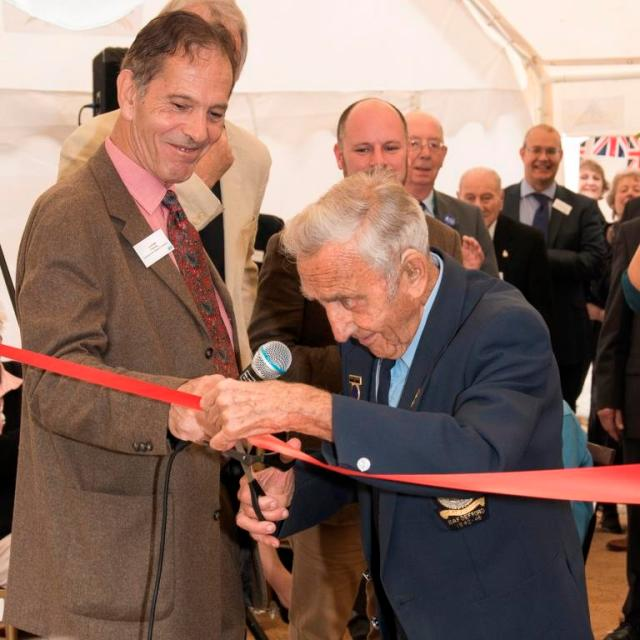 Honorary DAHG President Albert Shorrock (right) cuts the ribbon to open the RAF Defford Museum, with Lord Flight (left). Credit: Stewart Bourne